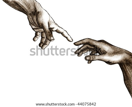 Pencil sketch of God and Adam's hands from the Sistine Chapel ceiling.