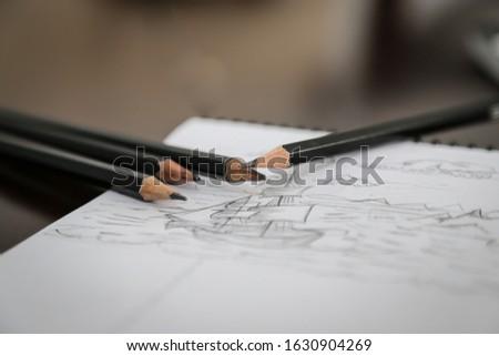 pencil sketch of ship - sketch