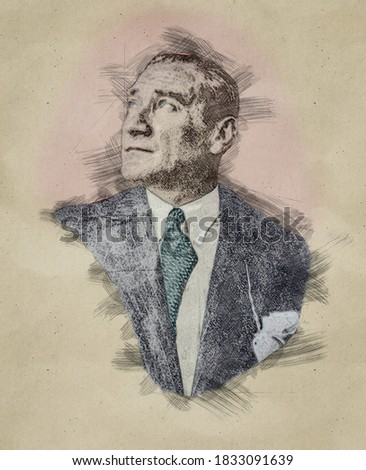 Pencil sketch portrait illustration of Mustafa Kemal Ataturk