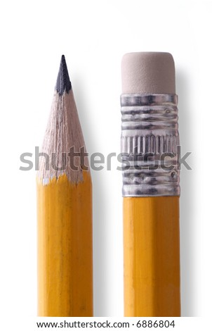 Pencil tip and eraser closeup isolated on white