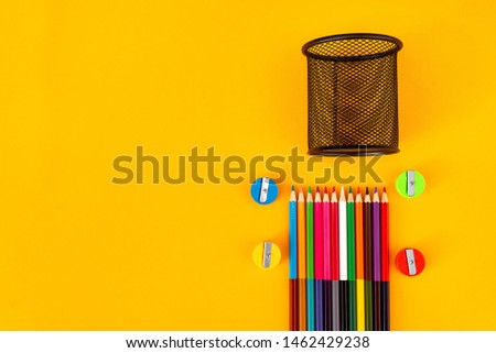 Pencil with pencil box and  pencil sharpener on white background #1462429238
