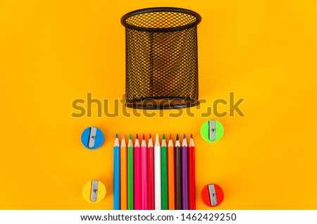 Pencil with pencil box and  pencil sharpener on white background #1462429250