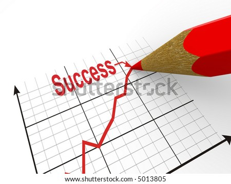 Pencil with schedule. Strategy of success. 3d - stock photo