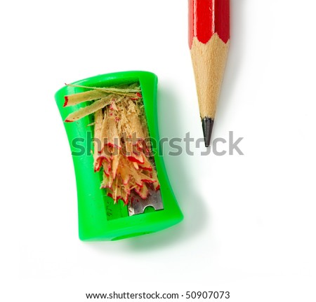 Pencil with sharpener isolated on white background