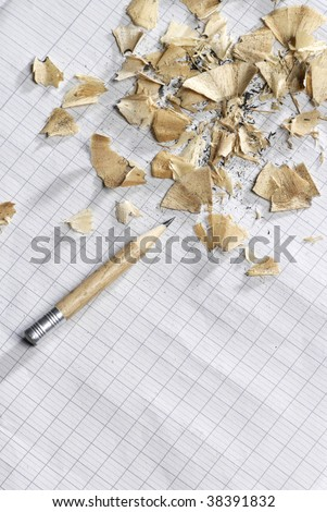 Pencil with top on the paper(role) - stock photo