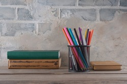 Pencilcase, pencils and books