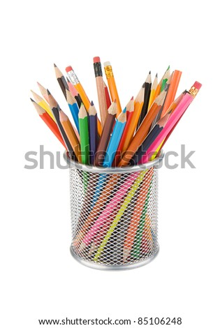 pencils and basket holder isolated on white background