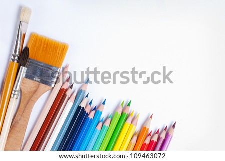 Pencils and brushes for doing creative work