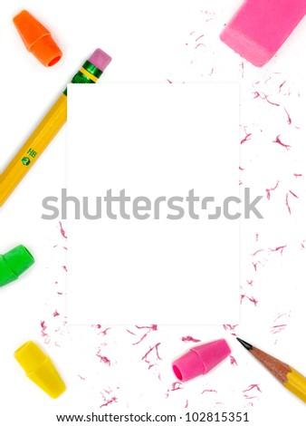 Pencils and erasers border with blank note area