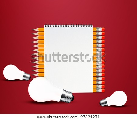 pencils and notepad and light bulb on red background.