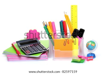 pencils and pens in holder and the line isolated on white