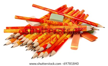 Pencils and rubbers on a white background
