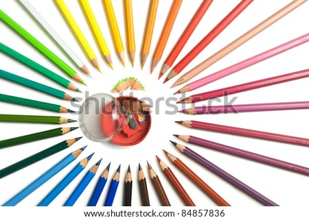 pencils and sharpener on a white background