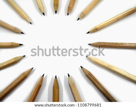 Pencils arrange Circular on white background #1108799681