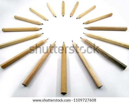 Pencils arrange Circular on white background #1109727608