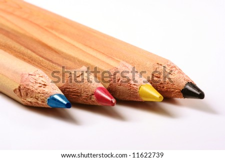 Pencils CMYK: cyan, magenta, yellow and black