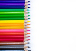 pencils color on white background , pencils color group
