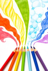 Pencils drawing rainbow smoke