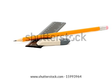 Pencils, eraser and ruler on a white background - stock photo