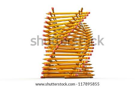 pencils helix shaped isolated on white background