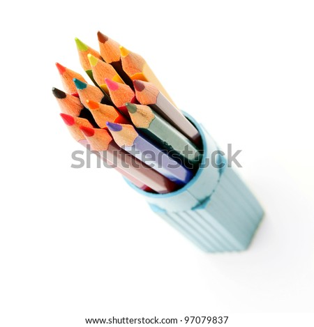 Pencils in a case. On a white background.