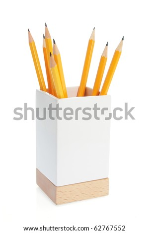 Pencils in Holder on White Background