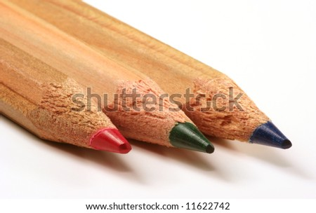 Pencils in RGB: red, green, blue