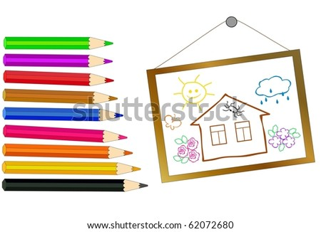 pencils of different colors and a hand-drawn picture