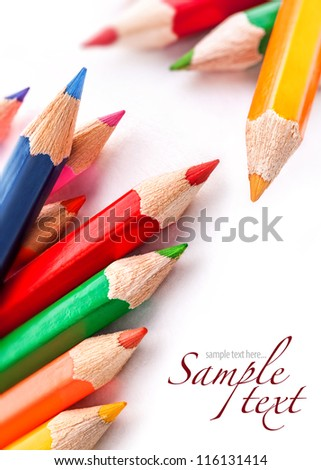 Pencils of different colors isolated on white background closeup - stock photo
