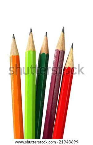 Pencils, sharpened, isolated on white.  Assortment of different colored lead pencils.