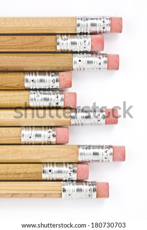 pencils with erasers on the ends isolated on white