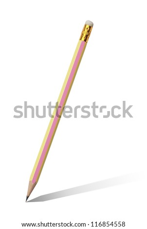 Pencils with shadow on white background