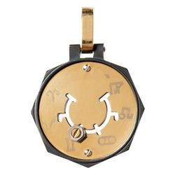 Pendant zodiac signs in yellow and white gold and steel with black physical vapor deposition isolated on white background