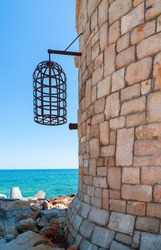Pending cage from a tower near the Sea, Black sea
