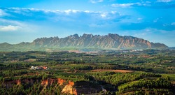 Penedes wine region with Montserrat mountains in the background. Catalonia, Spain