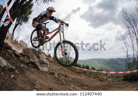 PENELA, PORTUGAL - SEPTEMBER 9: Leonel Henrique during the 6th Stage of the Taca de Portugal Downhill Vodafone on september 9, 2012 in Penela, Portugal.