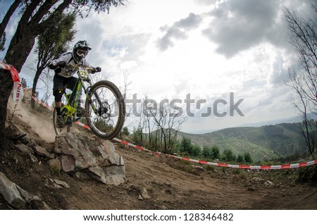 PENELA, PORTUGAL - SEPTEMBER 9: Luis Fortunato during the 6th Stage of the Taca de Portugal Downhill Vodafone on september 9, 2012 in Penela, Portugal.