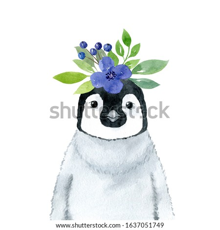 Penguin with blue flowers wreath- watercolor illustration. Cute emperor penguin baby character, front view. Monochrome childish portrait. Print for t-shirts, apparel, posters, textile.
