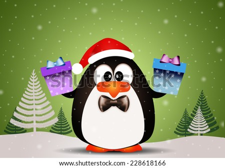 Penguin with Christmas gifts | EZ Canvas