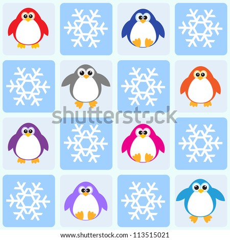 Penguins and snowflakes. Seamless pattern - raster version