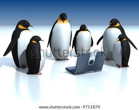 Penguins around  laptop