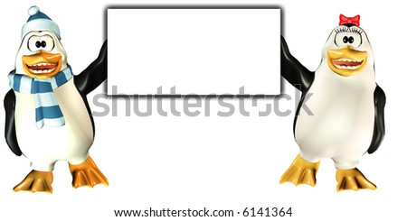 Penguins Sign with a male and a female holding a board