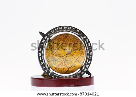 penholder with globe on white background