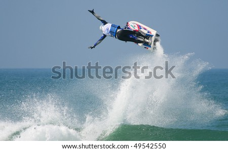 PENICHE, PORTUGAL - APRIL 15: Unidentified skier in action at World  Championship Freeride Portugal, jet ski qualifiers at Supertubos beach April 15, 2007 in Peniche, PORTUGAL