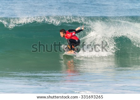 PENICHE, PORTUGAL - OCTOBER 23, 2015: Filipe Toledo (BRA) during the Moche Rip Curl Pro Portugal, Men's Samsung Galaxy Championship Tour #10. #331693265
