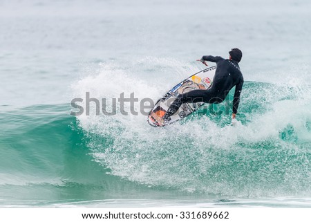 PENICHE, PORTUGAL - OCTOBER 23, 2015: Gabriel Medina (BRA) during the Moche Rip Curl Pro Portugal, Men's Samsung Galaxy Championship Tour #10. #331689662