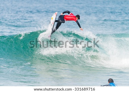 PENICHE, PORTUGAL - OCTOBER 23, 2015: Gabriel Medina (BRA) during the Moche Rip Curl Pro Portugal, Men's Samsung Galaxy Championship Tour #10. #331689716