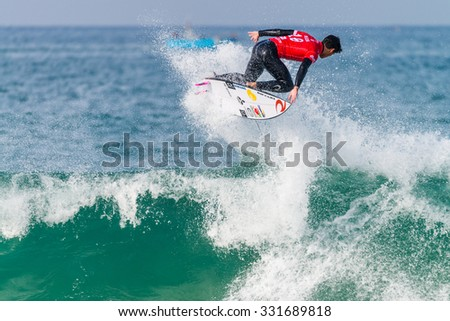 PENICHE, PORTUGAL - OCTOBER 23, 2015: Gabriel Medina (BRA) during the Moche Rip Curl Pro Portugal, Men's Samsung Galaxy Championship Tour #10. #331689818