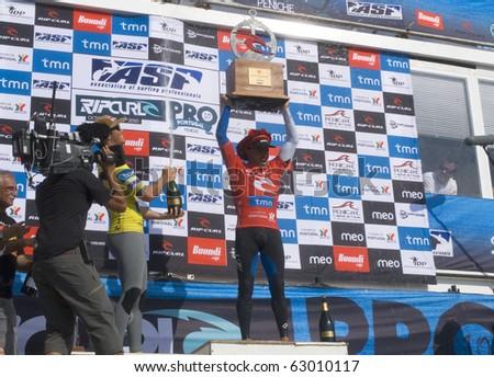 PENICHE, PORTUGAL - OCTOBER 14 : Kelly Slater (USA) Winner in Rip Curl men's Pro Portugal, October 14, 2010 in Peniche, Portugal #63010117