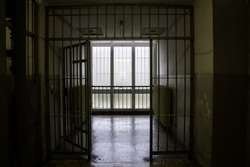 Penitentiary jail with cells, deprivation of liberty, arrests